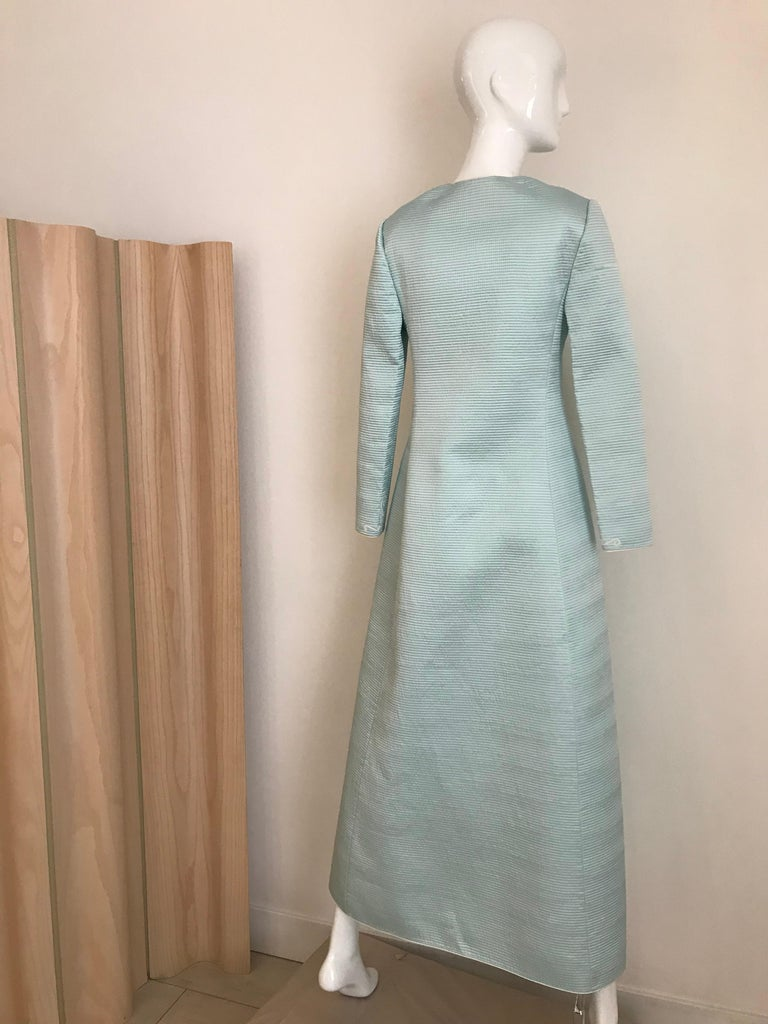 Vintage Mary McFadden Couture Light Blue Silk Coat For Sale 6