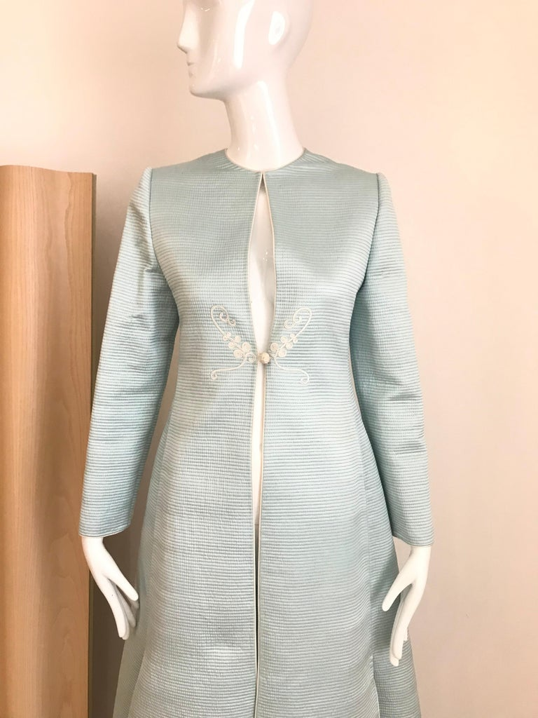 Women's Vintage Mary McFadden Couture Light Blue Silk Coat For Sale