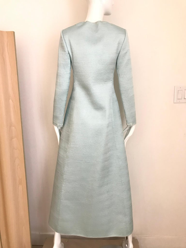 Vintage Mary McFadden Couture Light Blue Silk Coat For Sale 2