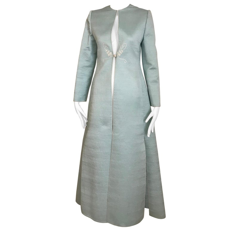 Vintage Mary McFadden Couture Light Blue Silk Coat For Sale