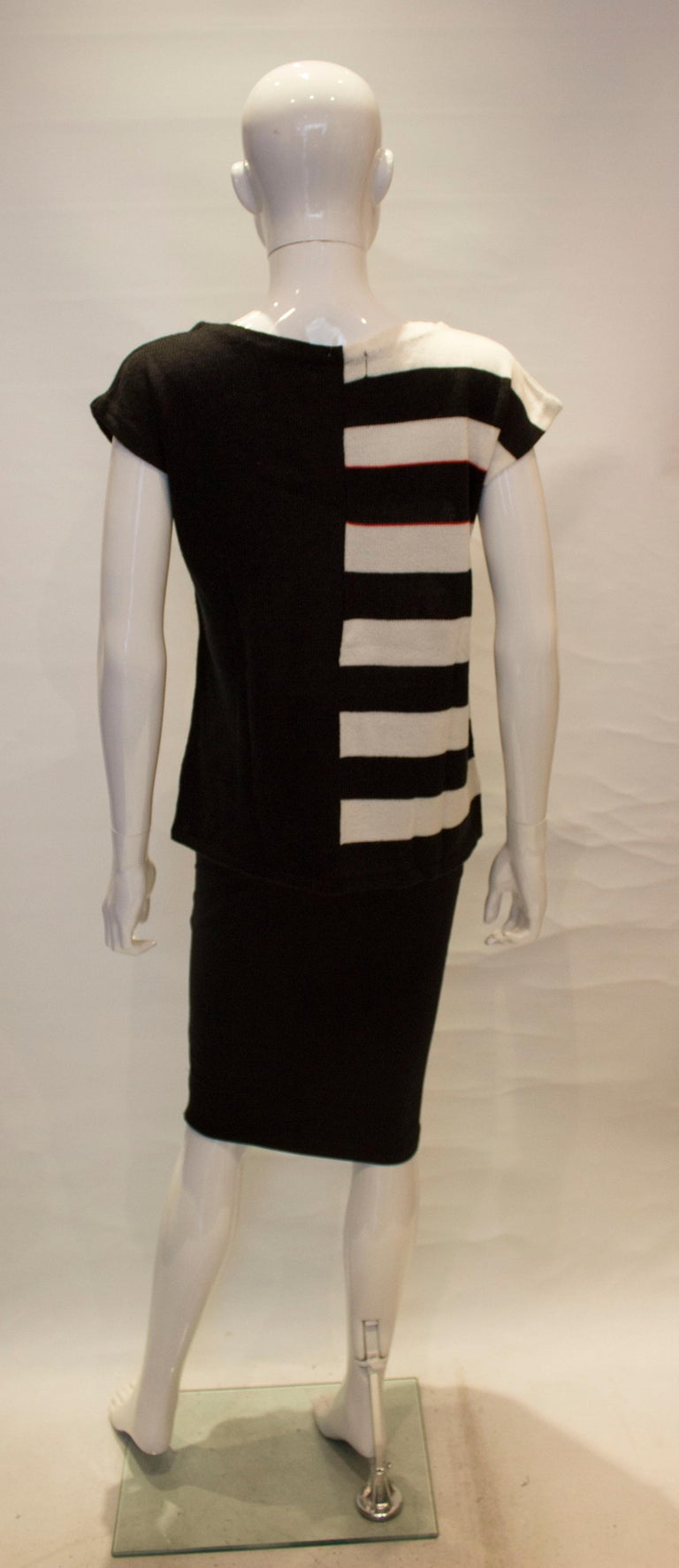 Vintage Mary Quant Black and White Knitted Top For Sale 3