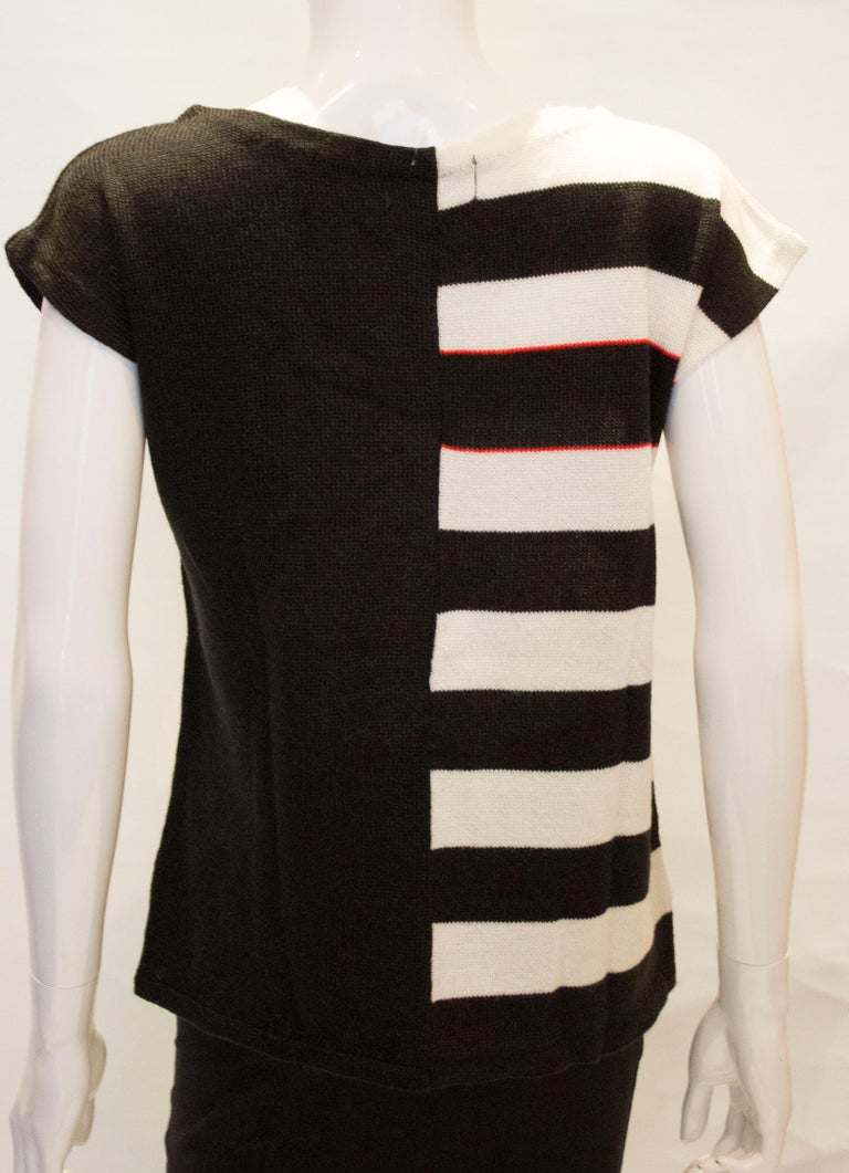Vintage Mary Quant Black and White Knitted Top For Sale 4