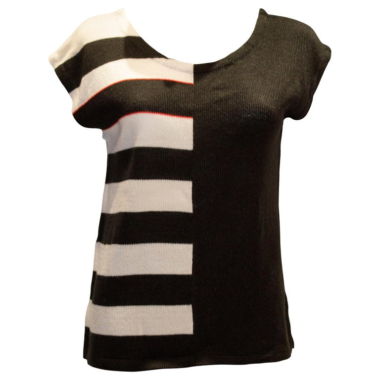 Vintage Mary Quant Black and White Knitted Top For Sale