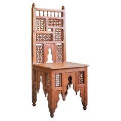 Vintage Mashrabiya Moorish Side Chair in Cedar Wood, England, Early 20th Century