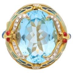 Vintage Masriera 'Lake Dragonflies' Topaz, Diamond and Enamel Ring in Gold