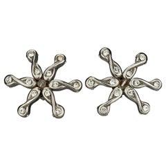 Vintage Massive ALEXIS LAHELLEC Paris Rhinestone Flower Silver Earrings