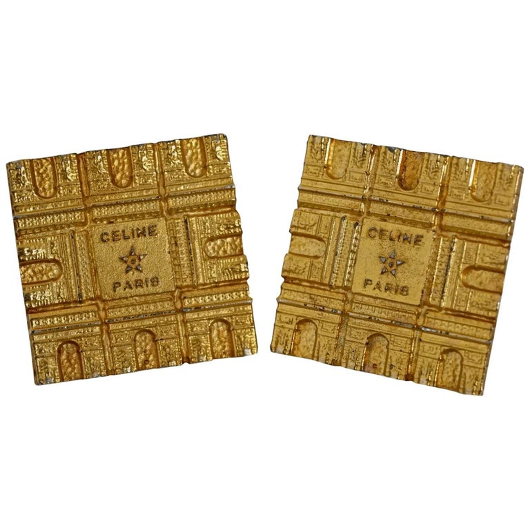 Vintage Massive CELINE PARIS Arc De Triomphe Iconic Earrings For Sale