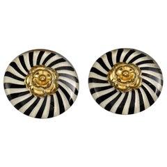 Vintage Massive CHANEL Camellia Stripe Lucite Earrings