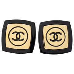 "Vintage Massive CHANEL Logo ""Compact Powder"" Resin Earrings"