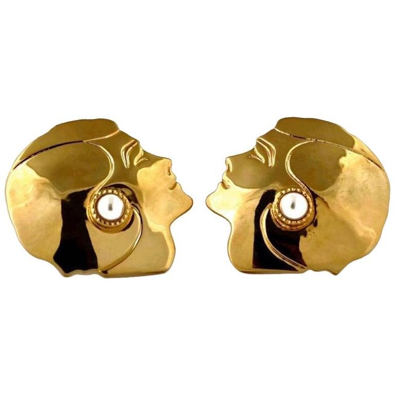 Vintage Massive CHANEL Mademoiselle Profile Earrings For Sale