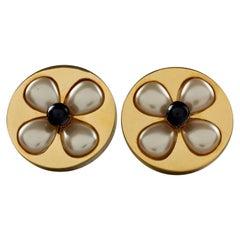 Vintage Massive CHANEL Pearl Gripoix Flower  Disc Earrings