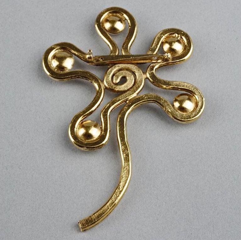 Vintage Massive CHANEL Spiral Flower Pearl Brooch For Sale 4