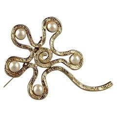 Vintage Massive CHANEL Spiral Flower Pearl Brooch