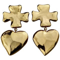 Vintage Massive CHRISTIAN LACROIX Cross Heart Dangling Earrings