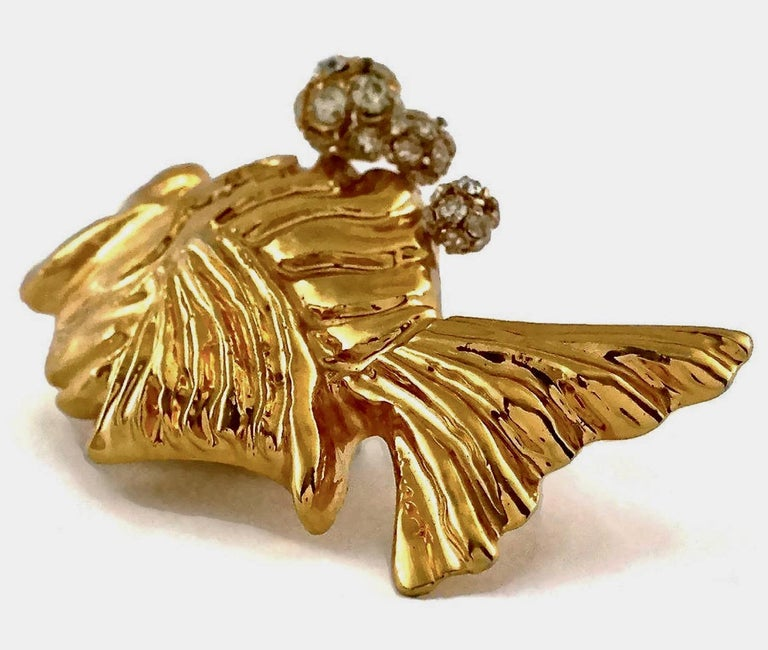 Vintage Massive CHRISTIAN LACROIX Fish Rhinestone Jewelled Brooch For Sale 3