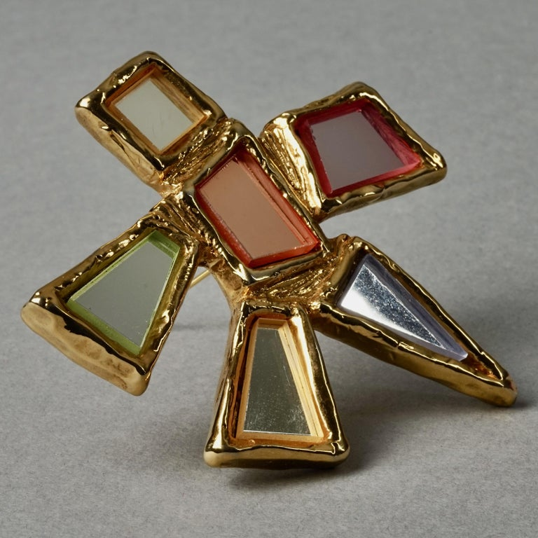 Vintage Massive CHRISTIAN LACROIX Geometric Mirror Star Brooch In Excellent Condition For Sale In Kingersheim, Alsace
