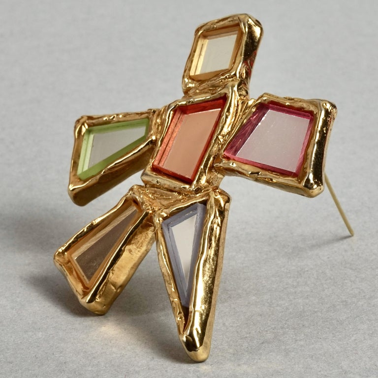 Women's or Men's Vintage Massive CHRISTIAN LACROIX Geometric Mirror Star Brooch For Sale
