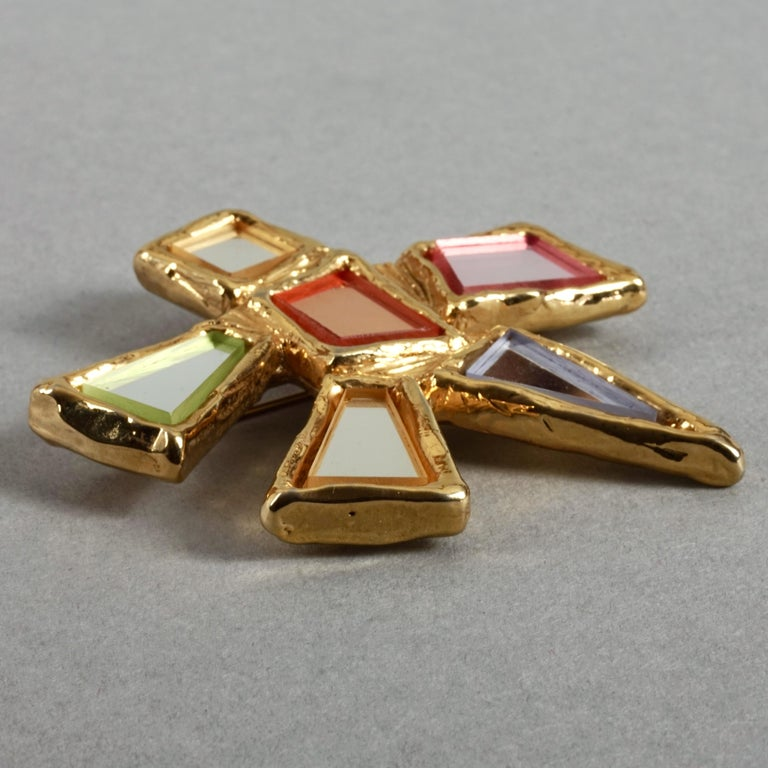 Vintage Massive CHRISTIAN LACROIX Geometric Mirror Star Brooch For Sale 2