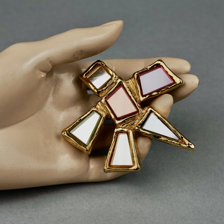 Vintage Massive CHRISTIAN LACROIX Geometric Mirror Star Brooch For Sale 3