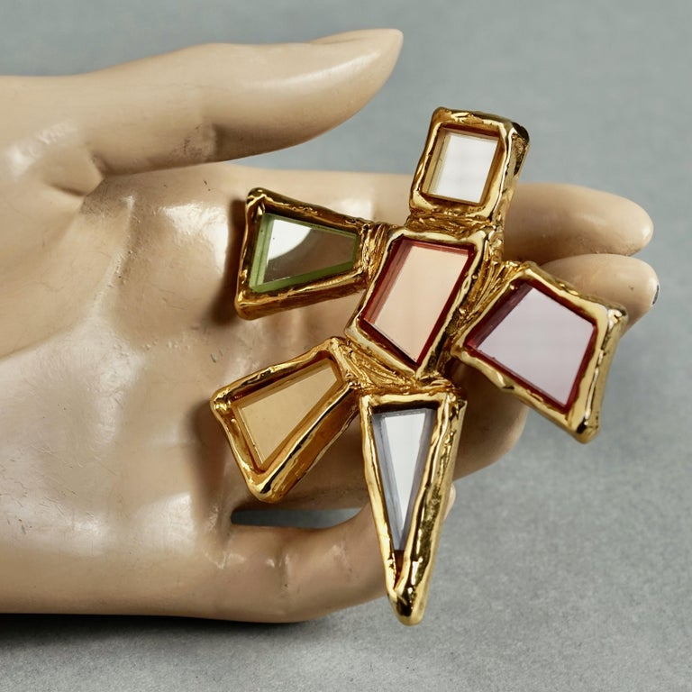 Vintage Massive CHRISTIAN LACROIX Geometric Mirror Star Brooch For Sale 4