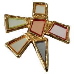 Vintage Massive CHRISTIAN LACROIX Geometric Mirror Star Brooch