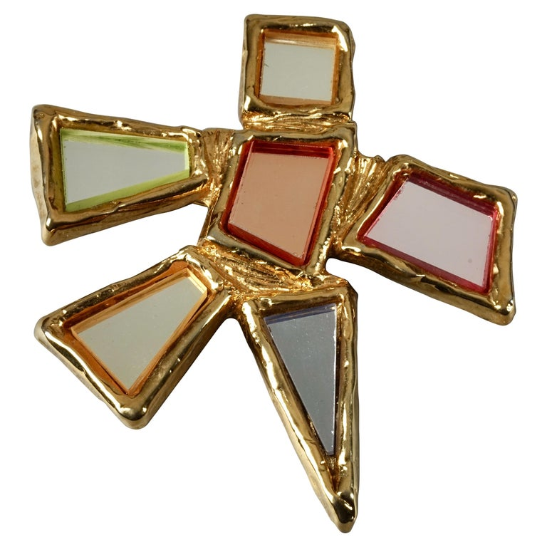 Vintage Massive CHRISTIAN LACROIX Geometric Mirror Star Brooch For Sale