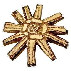 Vintage Massive CHRISTIAN LACROIX Logo Sun Brooch