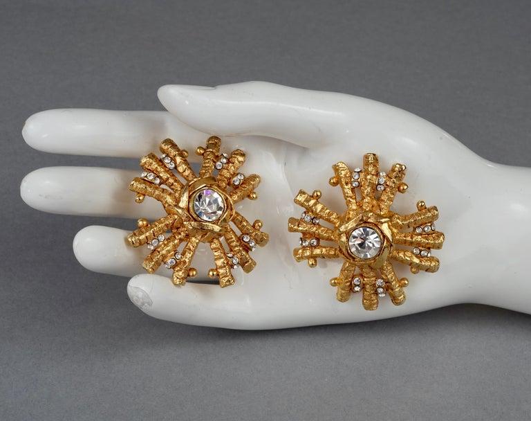 Vintage Massive CHRISTIAN LACROIX Sunburst Rhinestone Earrings For Sale 7