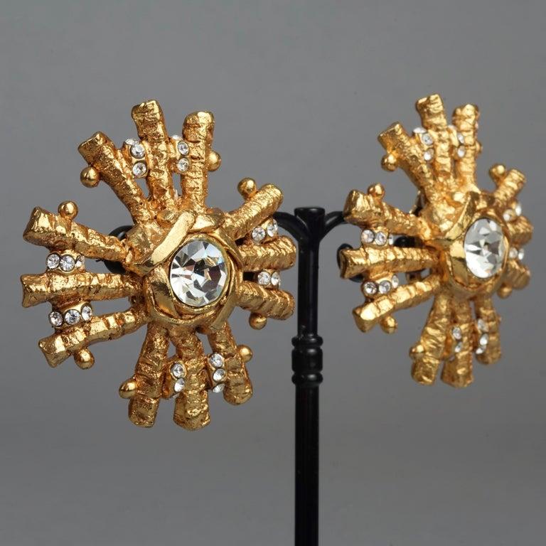 Vintage Massive CHRISTIAN LACROIX Sunburst Rhinestone Earrings For Sale 1