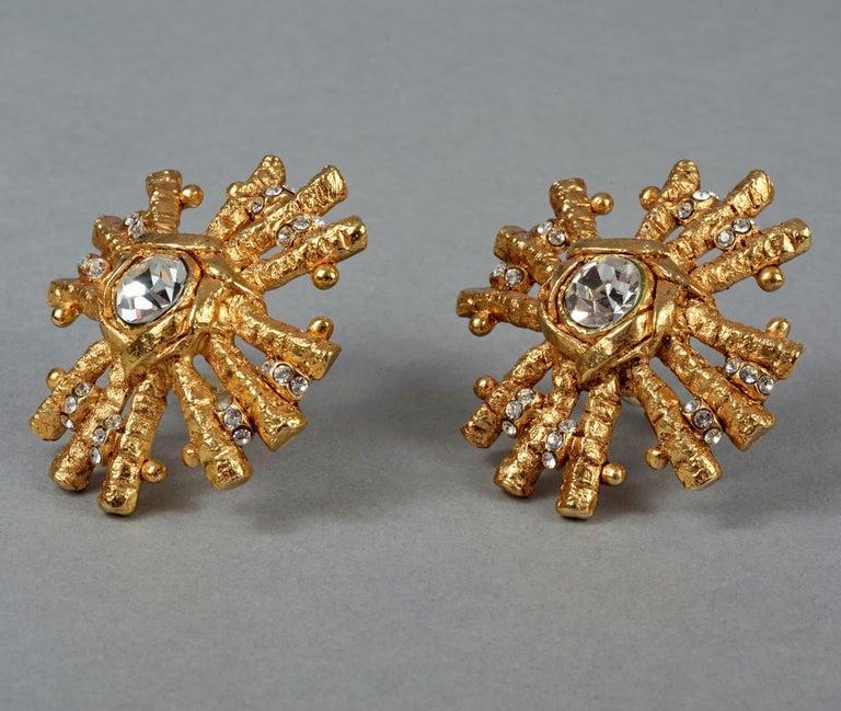 Vintage Massive CHRISTIAN LACROIX Sunburst Rhinestone Earrings For Sale 2