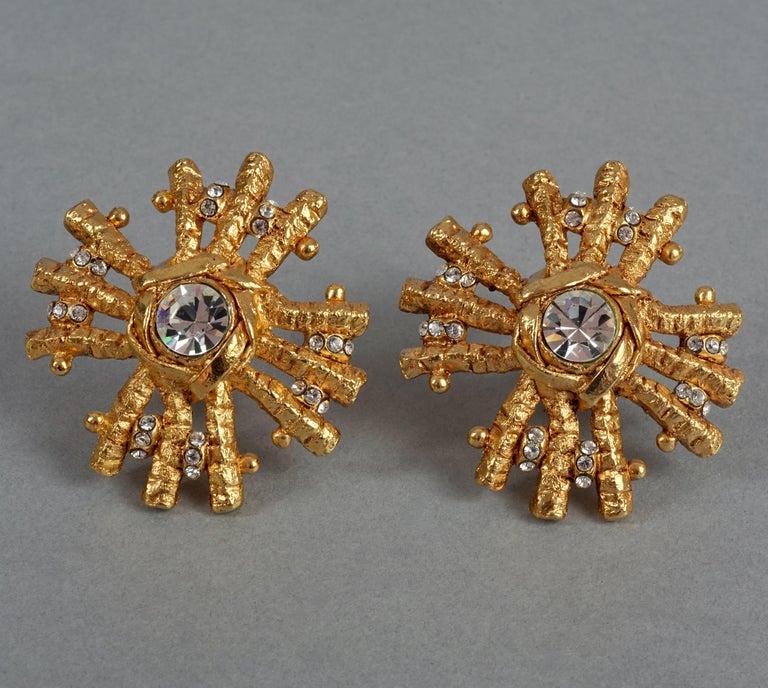Vintage Massive CHRISTIAN LACROIX Sunburst Rhinestone Earrings For Sale 3