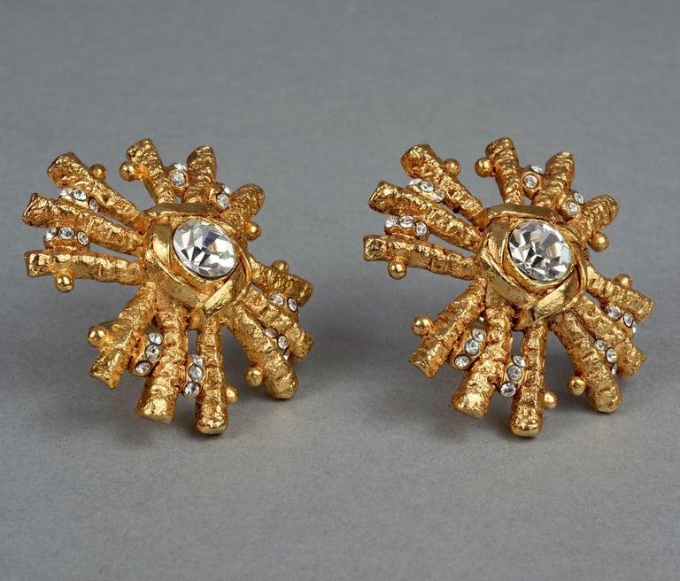 Vintage Massive CHRISTIAN LACROIX Sunburst Rhinestone Earrings For Sale 4