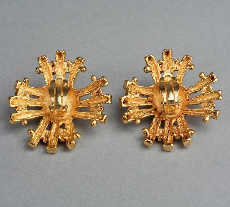 Vintage Massive CHRISTIAN LACROIX Sunburst Rhinestone Earrings For Sale 5