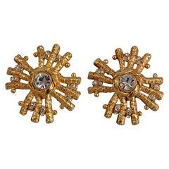 Vintage Massive CHRISTIAN LACROIX Sunburst Rhinestone Earrings