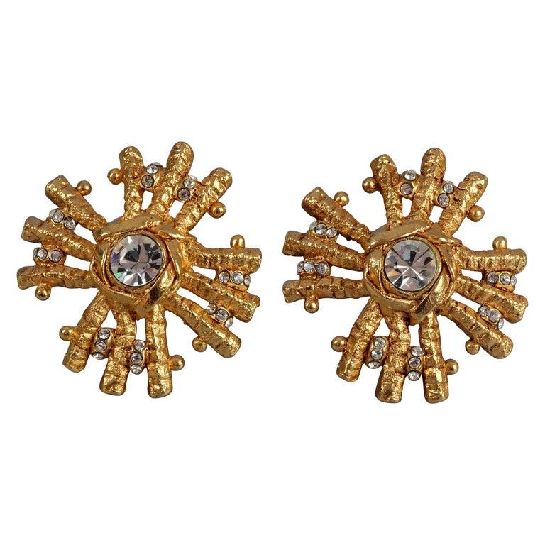 Vintage Massive CHRISTIAN LACROIX Sunburst Rhinestone Earrings For Sale