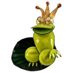 Vintage Massive CILEA PARIS Prince Frog on a Lily Pad Brooch
