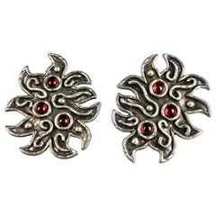 Vintage Massive EDOUARD RAMBAUD Ethnic Jeweled Silver Earrings