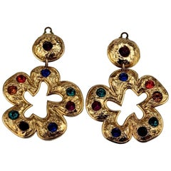 Vintage Massive EDOUARD RAMBAUD Jewelled Flower Dangling Earrings