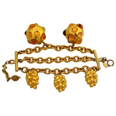 Vintage Massive ESCADA Amber Glass Ball Grapes Charm Tiered Bracelet