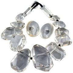 Vintage Massive GERDA LYNGGAARD MONIES Lucite Acrylic Earrings Necklace Set