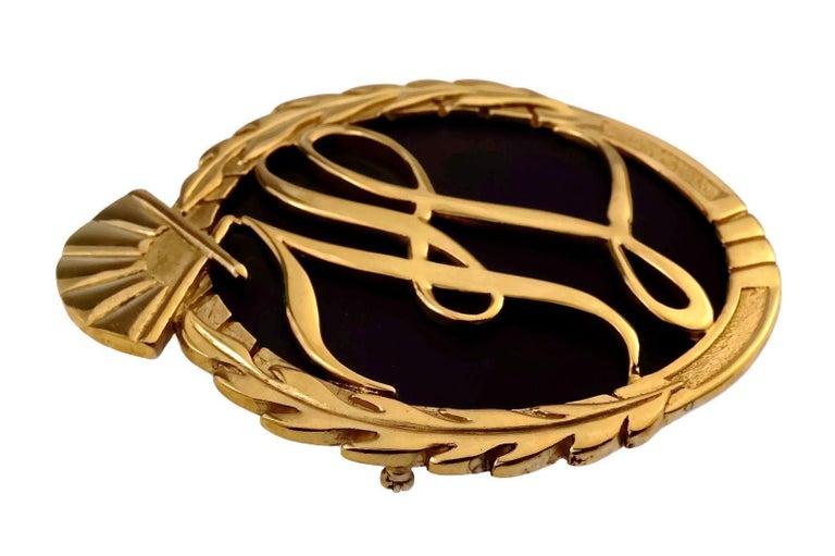 Vintage Massive Iconic KARL LAGERFELD KL Logo Fan Medallion Brooch For Sale 1