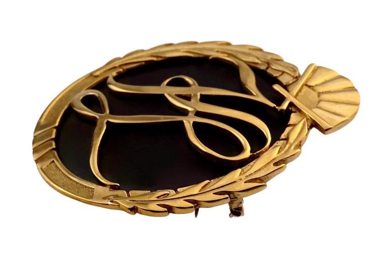 Vintage Massive Iconic KARL LAGERFELD KL Logo Fan Medallion Brooch For Sale 2