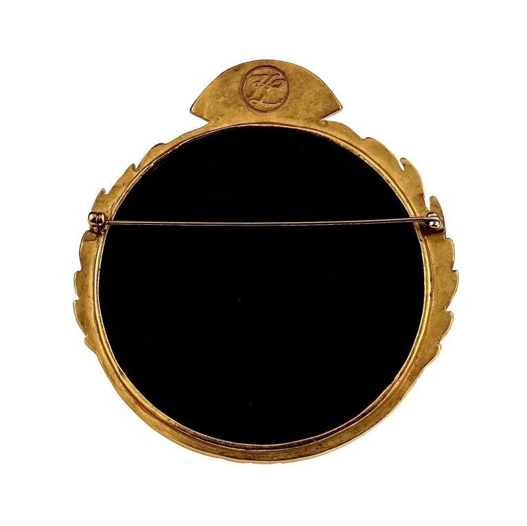Vintage Massive Iconic KARL LAGERFELD KL Logo Fan Medallion Brooch For Sale 4