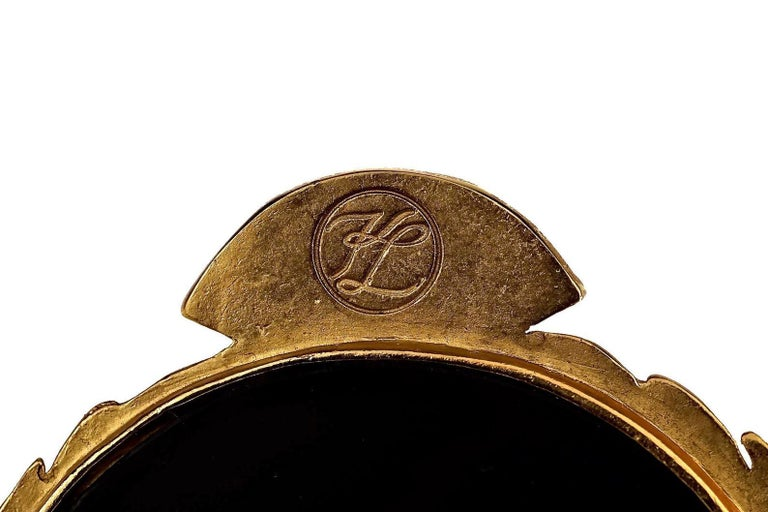 Vintage Massive Iconic KARL LAGERFELD KL Logo Fan Medallion Brooch For Sale 5