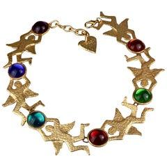 Vintage Massive JEAN CHARLES CASTELBAJAC Figural Glass Cabochon Necklace
