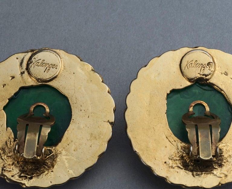 Vintage Massive KALINGER Cherub Carved French Earrings For Sale 7