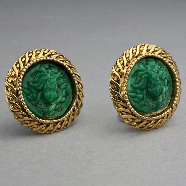 Women's Vintage Massive KALINGER Cherub Carved French Earrings For Sale