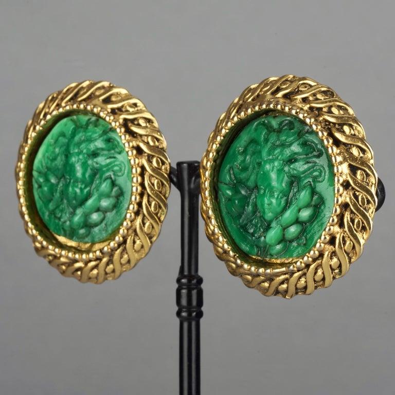 Vintage Massive KALINGER Cherub Carved French Earrings For Sale 3