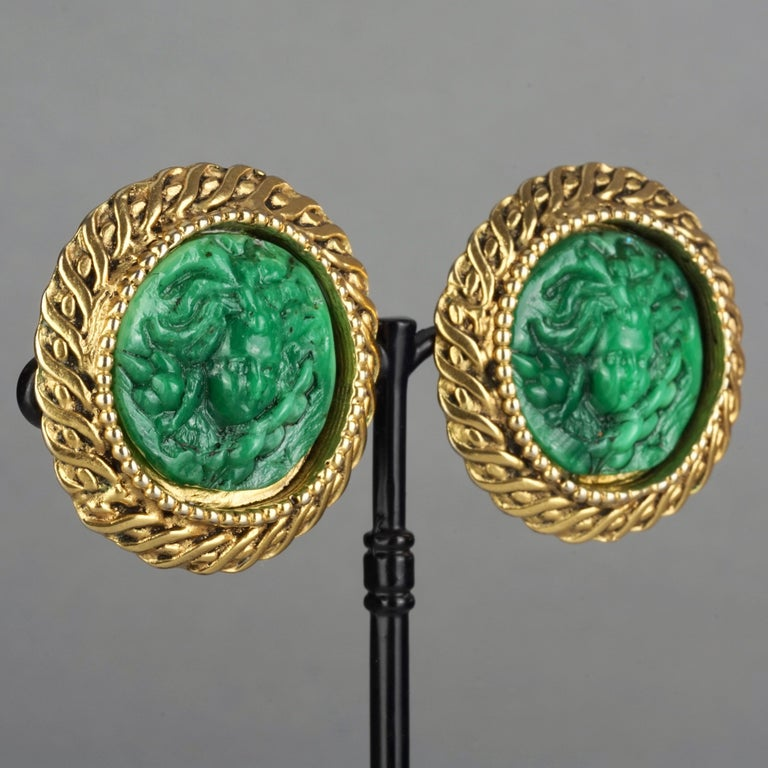 Vintage Massive KALINGER Cherub Carved French Earrings For Sale 4
