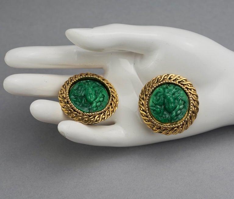 Vintage Massive KALINGER Cherub Carved French Earrings For Sale 5